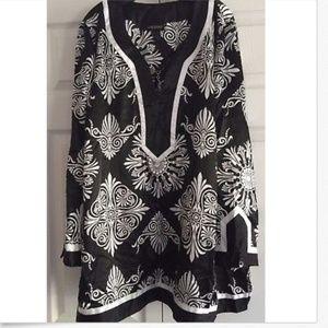 Lane Bryant Women's Tunic Top Black/White Print